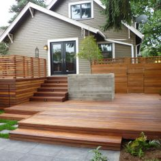 75 Ideas of modern decking. Planning the style of the deck is as important as planning the home interior. Look at these modern deck design ideas and find Patio Steps, Pergola Patio, Backyard Patio, Outdoor Spaces, Outdoor Living, Modern Deck, Design Jardin, Deck Stairs, Wooden Decks