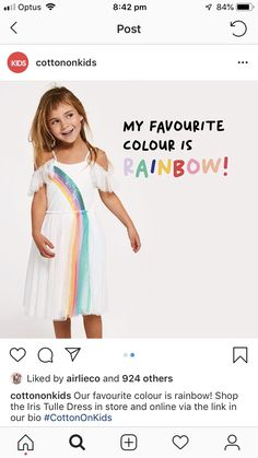 My Favorite Color, My Favorite Things, Tulle Dress, Rainbows, Children, Kids, Summer Dresses, Cotton, Shopping