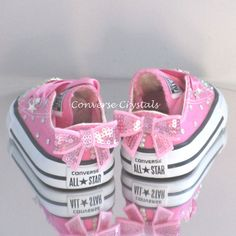 Infant Custom Crystal Toes Backs and Fabric Bling Converse Cute Baby Shoes, Baby Girl Shoes, Kid Shoes, Girls Shoes, Bedazzled Shoes, Rhinestone Shoes, Bling Shoes, Toddler Converse, Baby Converse