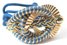 Vintage 80s Royal Blue Rope Cord Gold Fabric Belt by WhatTheBelt