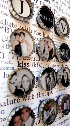 Create mini photo magnets out of bottle caps...cute idea.