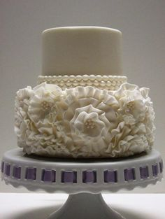 Modern Cakes Ruffled wedding cake inspired by bride's gown. Beautiful Wedding Cakes, Gorgeous Cakes, Pretty Cakes, Amazing Cakes, Perfect Wedding, Cupcakes, Cupcake Cakes, Mini Cakes, Round Wedding Cakes