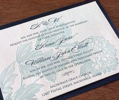 floral letterpress wedding invitation by invitations by ajalon    element:invitation  ink/foil colors:3025 peacock blue, 3025 peacock tint  fonts:burgues, trajan pro  paper:100% cotton  method:letterpress  pricing category:2 inks  customizations:2nd paper layer    http://invitationsbyajalon.com/gallery/laura.html