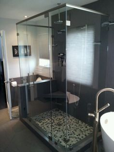 """Custom shower glass enclosure installed by Old Town Glass on a project in Petaluma, Ca.  Features CRL hardware and 3/8"""" and 1/2"""" tempered glass."""