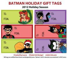 My Batman themed Christmas / Holiday Gift Tags :) download link on the blog
