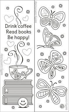 Here's a set of simple yet beautiful coloring bookmarks that would appeal to both kids and adults.Details:* The ZIP folder includes 1 pdf file a Coloring Pages For Grown Ups, Free Adult Coloring Pages, Coloring Pages To Print, Free Printable Coloring Pages, Coloring Book Pages, Coloring For Kids, Gestion Administration, Illustrations Poster, Butterfly Coloring Page