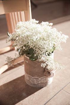 Gypsophila Flowers Ceremony Hessian Lace Cosy Winter Christmas Seaside Wedding http://kerryannduffy.com/