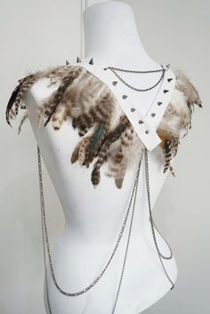 White feather body chain, bohemian bride, burning man white party, mad max top, harness lingerie shoulder jewelry by LoveKhaos on Etsy https://www.etsy.com/au/listing/270220381/white-feather-body-chain-bohemian-bride