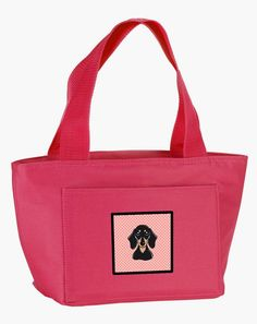 Checkerboard Pink Smooth Black and Tan Dachshund Lunch Bag BB1215PK-8808