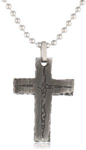 Men's Stainless Steel Stone Finish with Black IP Cross Pendant Necklace by Amazon Curated Collection - See more at: http://blackdiamondgemstone.com/jewelry/mens-jewelry/mens-necklaces/men39s-stainless-steel-stone-finish-with-black-ip-cross-pendant-necklace-com/