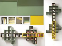 Parete moderna, libreria colorata | Arredamento Mobili