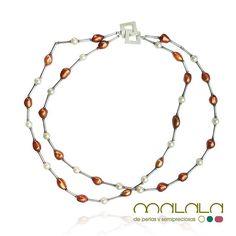 #collar de #perlas cultivadas color bronce y blancas con #plata de Birmania  #silver #necklace #pearl #accesorios #complementos #DiseñosPropios #especial #fashionblogger #handmadejewel #hechoamanoconamor #instamode #jewelry #joyas #joyasdediseño #joyasunicas #joyeriadeautor #ponteguapa #regalosconencanto #specialgift #natural #personalizado #piedrassemipreciosas #regalo