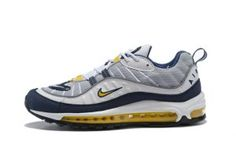 Mens Nike Air Max 98 Running Shoes Wolf Grey Tour Yellow White Midnight  Navy 640744 004 4c6f2fd7a