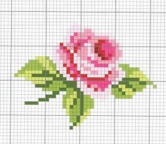 Rose flower cross stitch chart / Kreuzstich Vorlage Blume