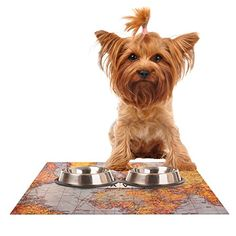 """Kess InHouse Sylvia Cook """"Travel Map"""" Pet Bowl Placemat for Dog and Cat Feeding Mat, 18 by 13-Inch, World ** Want additional info? Click on the image."""