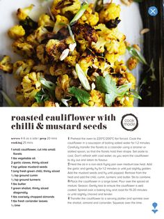 Roasted cauliflower with chilli and mustard seeds