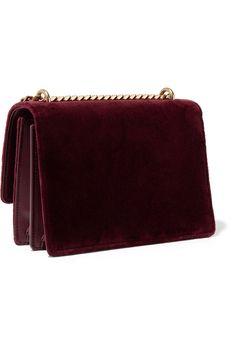 Burgundy Sunset small velvet shoulder bag | SAINT LAURENT | NET-A-PORTER Wolford Tights, Saint Laurent Dress, Aldo Boots, Small Cards, You Bag, Dust Bag, Zip Around Wallet, Saints, Burgundy