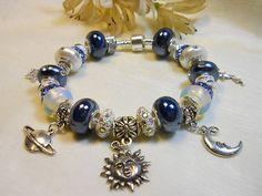 Celestial Charm Bracelet European Style Moon by TheresACharm4That