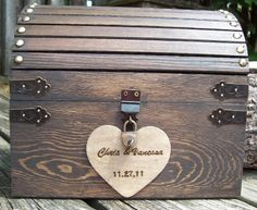 Wedding Card Box - Rustic Wood Treasure Chest With Card Slot And Lock-key Set…