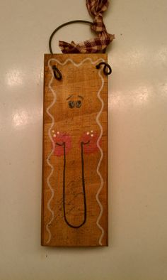 Hand painted Gingerbread face ornament / by FamiliesStick2Gether, $3.50