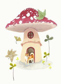 Melinda Josie Mushroom House 2007 Watercolour, Ink & Gouache x (framed) Created for Mittenfists exhibition at Magic Pony Gallery, August Mushroom House, Mushroom Art, Mushroom Crafts, Children's Book Illustration, Watercolor Illustration, Vegetable Illustration, Child Draw, Art Fantaisiste, Ecole Art