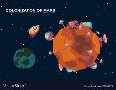 Mars colonization - planet with futuristic Vector Image Cosmos, Colonization Of Mars, People In Space, Alien Planet, Red Planet, Solar System Exploration, Space Doodles, Red Space, Alien Spaceship