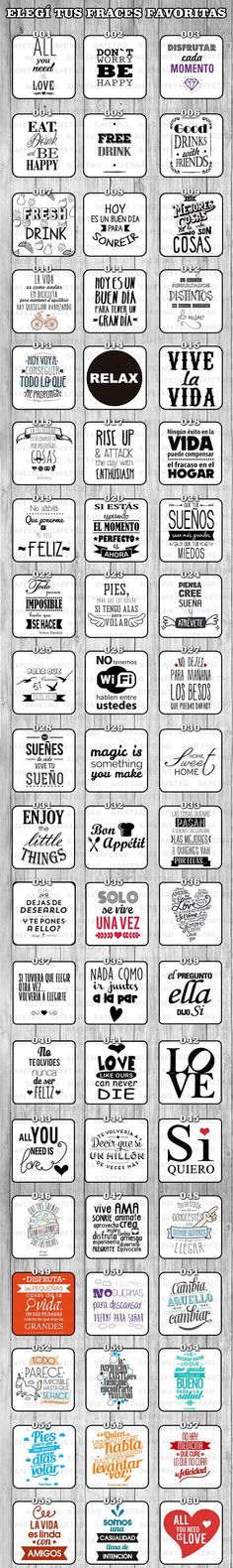 Etiquetas Autoadhesivas Frases Frascos Vasos Botellas X 55 - $ 79,90 en Mercado Libre Cricut, Decoupage, Stencils, Diy And Crafts, Doodles, Bullet Journal, Inspirational Quotes, Printables, Letters
