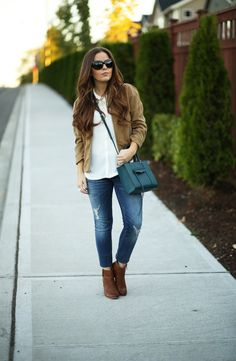 drapey gap jacket, skinny jeans and booties