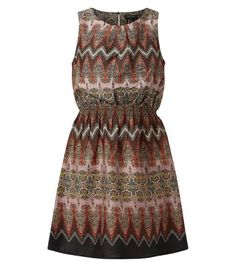 Black Abstract Print Shirred Waist Skater Dress - New Look
