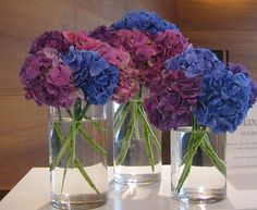 simple and cute flower arrangement. Blue and Burgundy wedding