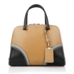 Prada Tasche – Bauletto Vitello Naturale+Nero – in braun aus Glattleder – Henkeltasche für Damen