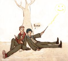 The boys attend Hogwarts (I wonder what Sherlock would think of the Giant Squid?) -- Sherlock and John