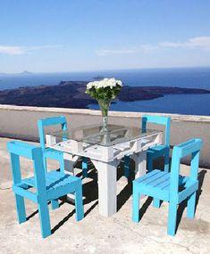 Table de jardin en palette bois ambiance île de Ré