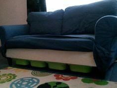 Storage under Ektorp. Materials: Ektorp sofa (2seater) and 4 Trofast containersDescription: Requirements: 1x Ektorp Sofa 4x Trofast containers (42*30*10)  (if needed) 4x Trofast lid