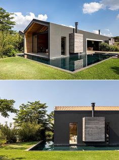 The exterior of this modern home is a black-painted mass, contrasting the surrounding nature, and providing a bold backdrop for the outdoors spaces, like the patio and swimming pool. Design Firms, Outdoor Spaces, Living Area, Shelving, Swimming Pools, Divider, Floor Plans, Separates, Interior Design