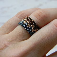 Sparkly beaded ring Seed bead ring Zig zag ring by HappyBeadwork