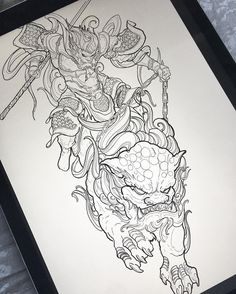 Work in progress! Monkey king riding foo dog leg sleeve! #irezumicollective #vancouvertattoo #monkeyking
