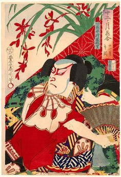 Portrait of kabuki actor Kataoka Gado, by Toyohara Kunichika, ca. 1900.