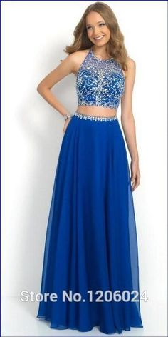 Sexy Beaded Royal Blue Two Pieces Prom Dresses 2015 for Women Sheer Halter Neckline Backless Party Gowns Vestido De Festa Longo Custom Made Online with $135.08/Piece on Flodo's Store | DHgate.com