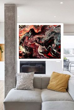 """New Original One of a kind Abstract Acrylic Fluid Painting """"Distention"""" 16"""" X 20"""" - Painted by Dawn on Etsy, $100.00"""