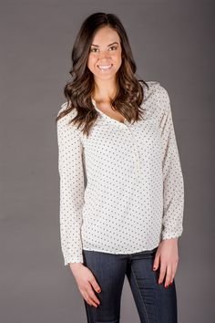 """We love these classy breezy blouses for the every season! They feature a nice, lightweight fabric, roll tab sleeve and half button front. Pair her with a pencil skirt and heels or skinnies and your favorite cardi!100% PolyesterSIZING: Models are 5'8"""" and 5'9"""" wear a 4 and is wearing the Small Small 0-4Medium 6-8Large 10-12COLORS: NavySky BlueBlushIvory"""