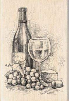 Inkadinkado Mounted Rubber Stamp 4 75 Wine&Cheese is part of pencil-drawings - pencil-drawings Still Life Sketch, Still Life Drawing, Still Life Pencil Shading, Pencil Sketch Drawing, Pencil Art Drawings, Shading Drawing, City Drawing, Drawing Art, Cool Art Drawings