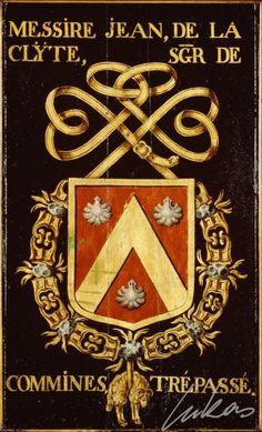 """(9) Jean de LA CLITE, sgr de COMMINES (†1442) -- """"Messire Jean de la Clÿte, sgr de Commines. Trépassé""""-- Armorial plate from the Order of the Golden Fleece, painted by Pierre Coustain, 1445, Saint Bavo Cathedral, Gent -- Panneau de trépassé."""