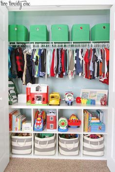 This organized toddler closet features storage for clothing, toys, books, diapers, and other items. Great ideas for organizing for a child's closet. room ideas bedrooms room design kids room ideas room ideas for girls kids rooms rooms Boy Toddler Bedroom, Baby Boy Rooms, Girls Bedroom, Toddler Boy Room Ideas, Boys Room Ideas, Little Boy Bedroom Ideas, Toddler Toys, Big Boy Bedrooms, Diy Boy Room