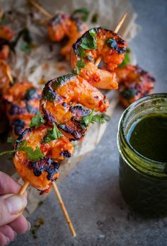Grilled Harissa Shrimp Skewers with Basil Oil & Cilantro by blogginoverthyme #Shrimp #Harissa