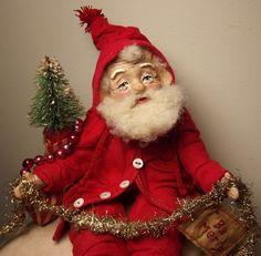 Handmade Little Red Santa Claus By Kim Sweet~Kim's Klaus~OoaK Vintage Antique Folk Art Doll