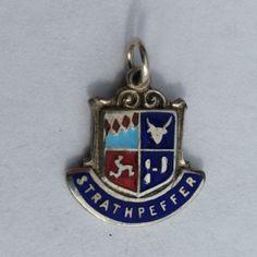 Strathpeffer Travel Shield Charm - Sterling Silver Scottish Enamel Vintage Bracelet Charm, Pendant, Charm Necklace. Scotland by LittleVintageCharmCo on Etsy
