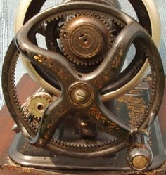 """Domestic """"A"""". The unusual geared hand crank with its internal toothed rim which also drove the bobbin winder. White Sewing Machine, Sewing Machine Parts, Antique Sewing Machines, Antiques, Ephemera, Collections, Decor, Antiquities, Frames"""