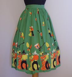 Love this vintage fabric skirt!