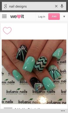 Sea Foam Green and black nails with bling